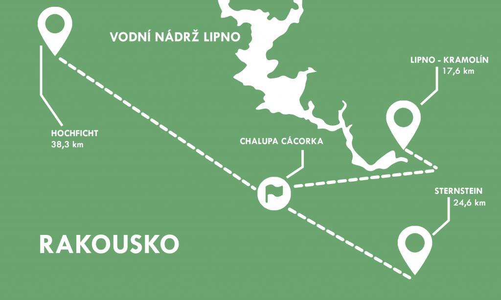 Mapa zobrazující vzdálenost lyžařských areálů od Chalupy Cácorka